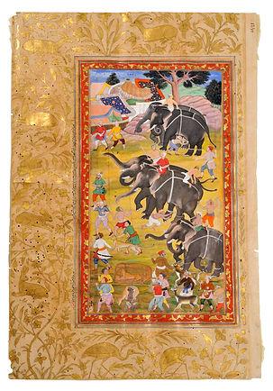 Akbarnama - Elephants returning from the