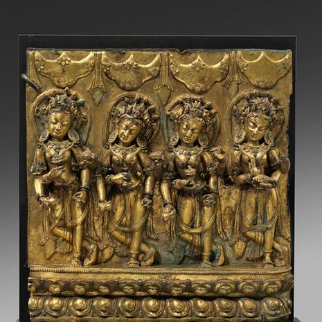 A Densatil Style Gilt-bronze Relief Depicting Four Dancing Goddesses