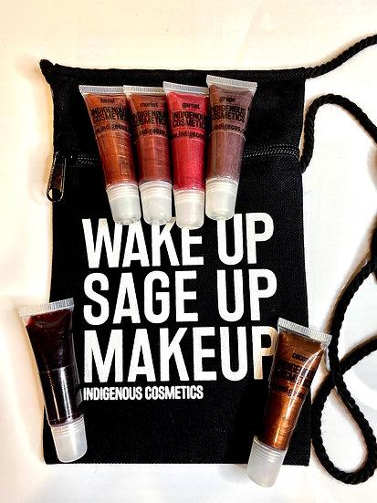 Wake Up Sage Up Makeup crossbody purse lip gloss bundle dark