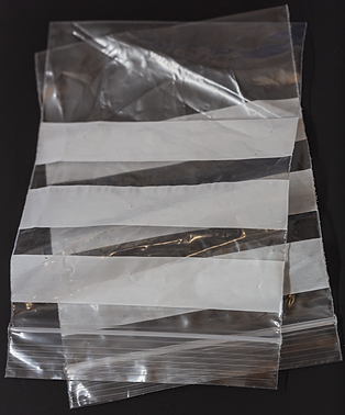 Re-usable self-seal plastic bags with white writing panel for wet samples (temporary storage only)