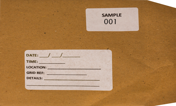 Gummed plain brown cash envelope for dry samples