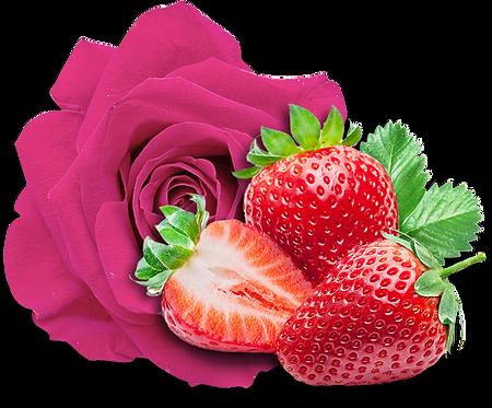Fraise et Pétales de Rose