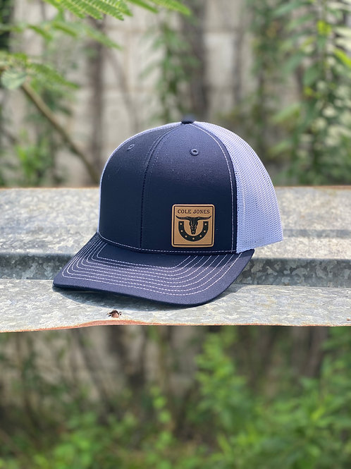 Navy Blue and White Hat with Leather Patch