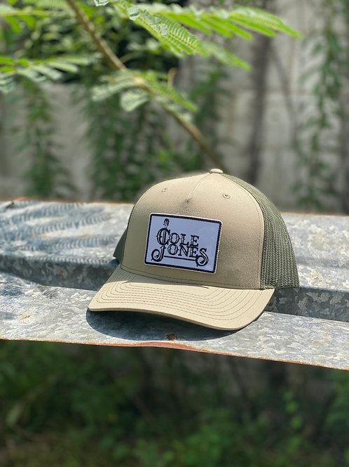 Olive Green and Camo Green Hat with Fabric Patch