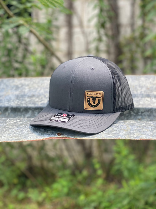 Charcoal and Black Hat with Leather Patch