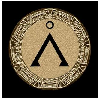 """Pièce dorée Stargate """"Terre""""+ présentoir"""