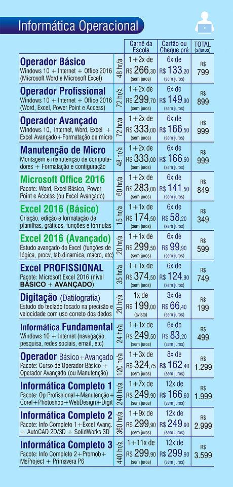 Curso de Informática, Operador de Computador, Excel, PowerPoint, Word, Windows 10, Digitação, Corel Draw