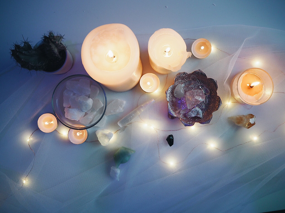 Crystals and candles collection