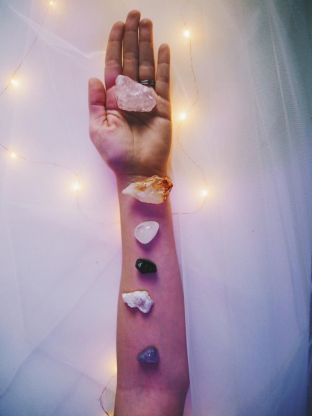Crystal arm. Rose quartz, Citrine, Clear quartz, Black tourmaline, clear quartz, amethyst
