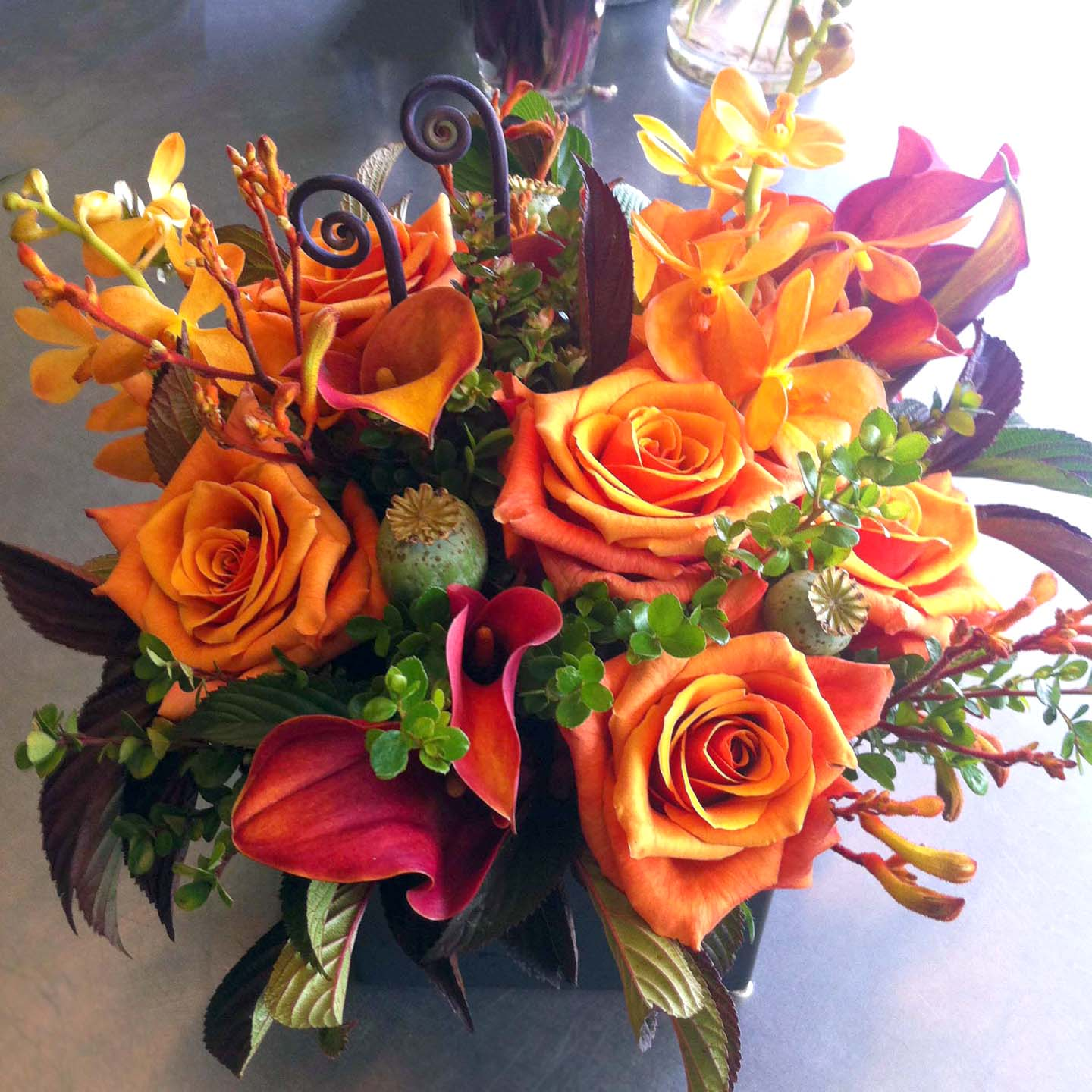 Orange monochromatic bouquet