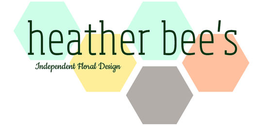 Heather bee's logo at top of page and link back to home