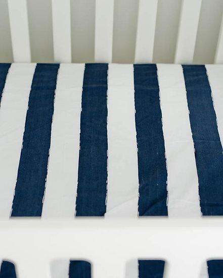 Percale Navy Stripe Crib Sheet