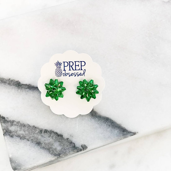 Bow holiday earrings green