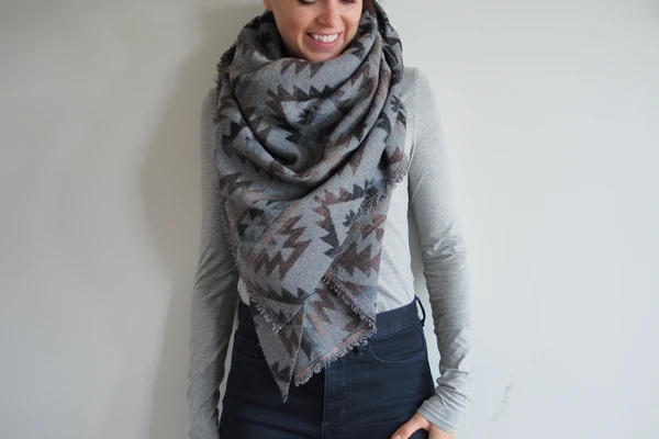 Dark Grey/Blue Aztec triangle scarf