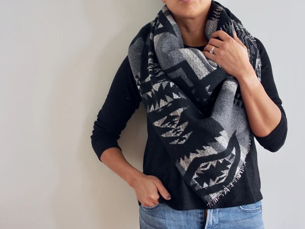 Black White and grey southwest triangle scarf