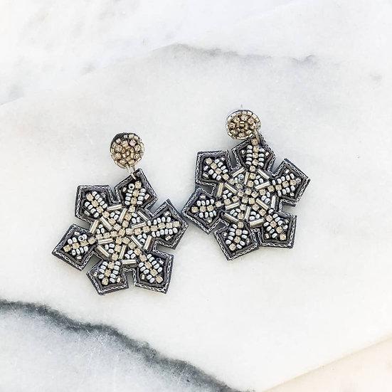 Glitzy beaded Snowflake earrings