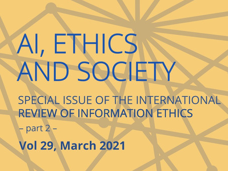 Released! IRIE Volume 29: Artificial Intelligence, Ethics and Society