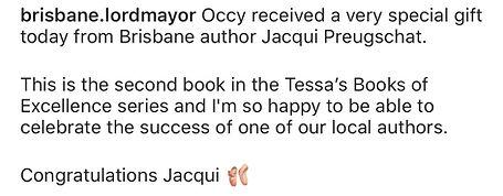 Brisbane Lord Mayor loves Jacqui's books
