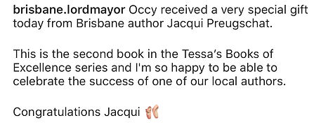 Brisbane Lord Mayor loves Jacqui's books