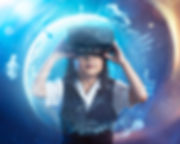Little asian cute girl wearing virtual r