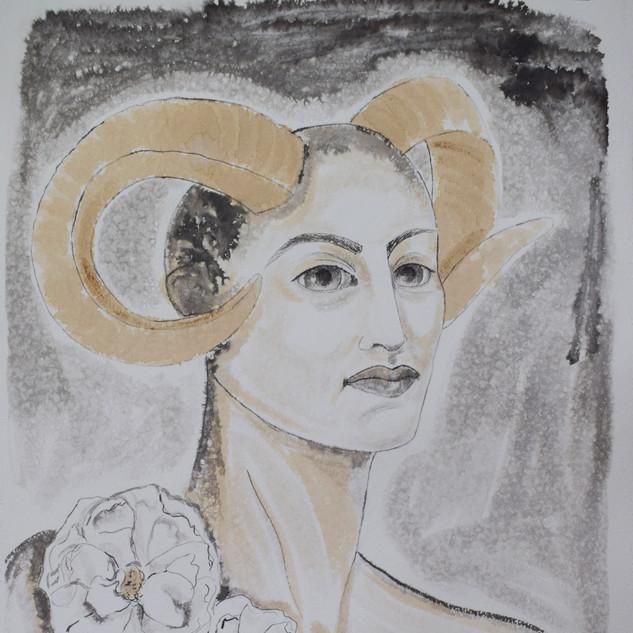 'L'amore della donna'  Anneli Di Francis Finland  Ink and coffee on paper,  76 x 56 cm