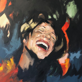 """'Laugh'  Giselle Gonzalez Gioia  Argentina  @gi_gioia_arte   120 x 100 oil painting  """"When I am making my way through portraits, I look upon the brilliance of a look that speaks more than any word. I admire how a painting can tell a story with an immense complexity and the way the viewer interprets the story told, reading between each brushstroke. A journey of self-interpretation which leads to the discovery of one`s essence, meaning and motive of contemplation. It was under this process of self-discovering """"We are mirrors"""" was born. Here, I want to represent that loneliness is a concept merely created by the human mind, conveying to the sense that we are never truly alone. We can always find this """"Other"""" contemplating from the outside, even if that """"Other"""" is oneself looking from an external plane. When we get to the place where we understand the global meaning of the artwork, we are able to recognize ourselves in the painting and become involved. We finally stop for a moment and observe. View ourselves almost with a certain sense of complicity. The series is a movement, a gesture and a reflection. We feel related to a feeling, in the brightness of a look, in the reflection of a scene."""""""
