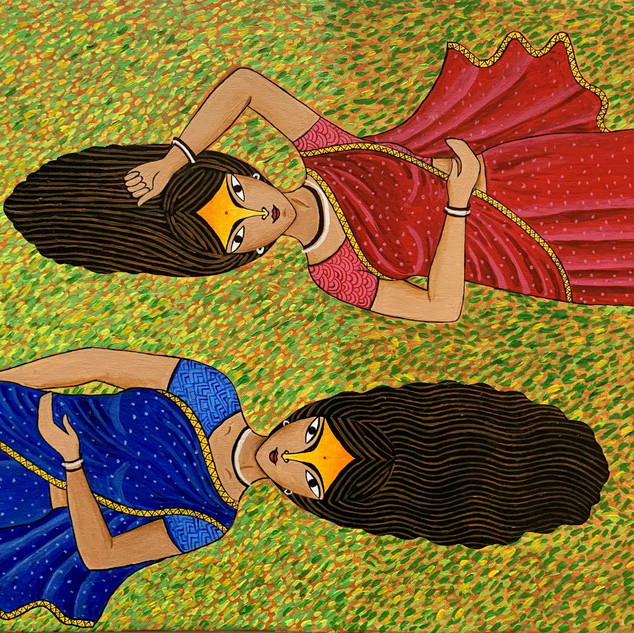 'Village women on grass'    Arpa Mukhopadhyay India  @arpa.mukhopadhyay  'Village women on grass'   Acrylic on Canvas   16 x 20 inches