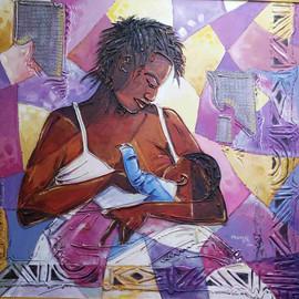 "'Joy of womanhood'  Oni Stephen  Nigeria  Medium: Acrylic on canvas Dimension: ""3*3"" fts"