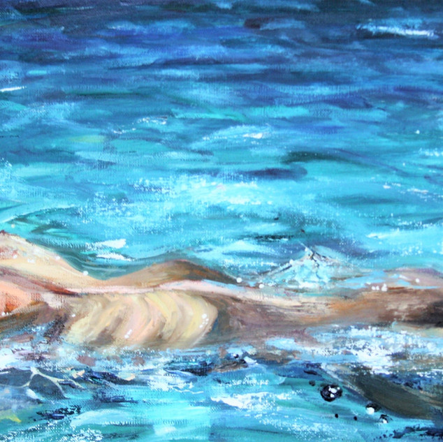 'Unity with the World'  Krokhmal Anastasiya  Russia  @art_kroha Oil on Canvas  30x50 cm  The painting is about the all-consuming fusion of woman and nature. The woman in the picture lies on the wave, she is completely relaxed and peaceful, she does not think about anything and these are the most beautiful moments in her life. The wave gently envelops her body and they become one