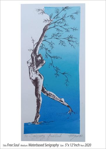 'Free Soul'  Nitiksha Dawar India  Medium - Water Based Serigraph  Dimensions - 5 x 12 inches