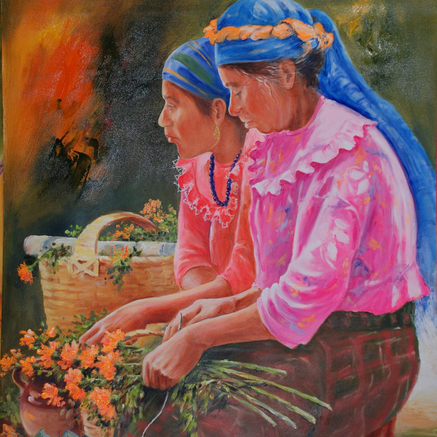 'At the market'  Gabriela Abud  Mexico @Gabrielaabud7020 Watercolour on paper  Painting of Mexican women selling sempazuchil flowers at the