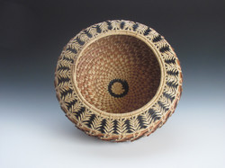 "Black and Natural Acorn Basket 8""w x 7""h"