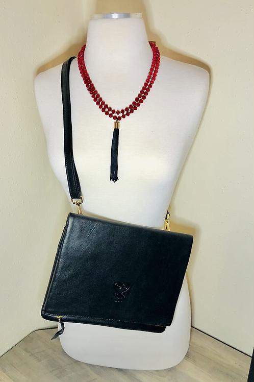 Custom Leather Crossbody - Black Beauty with Red Zipper