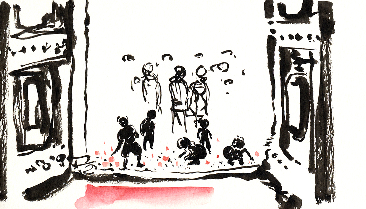 Children, flowers and rice, 2012