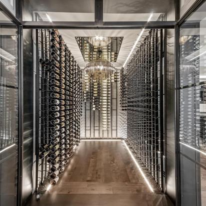 Wine Cellar glass & antique mirror on ceiling