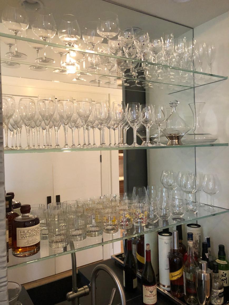 Mirrored bar backsplash
