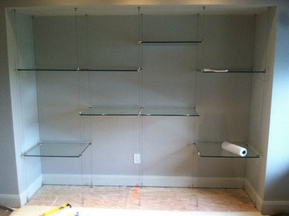 Suspensed glass shelving