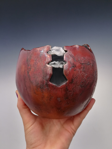 Raku pot, quartz crystal setting