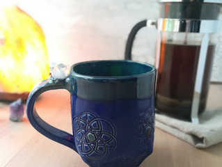 Crystal inlaid coffee mugs. Preview of the new line coming out this Sunday.
