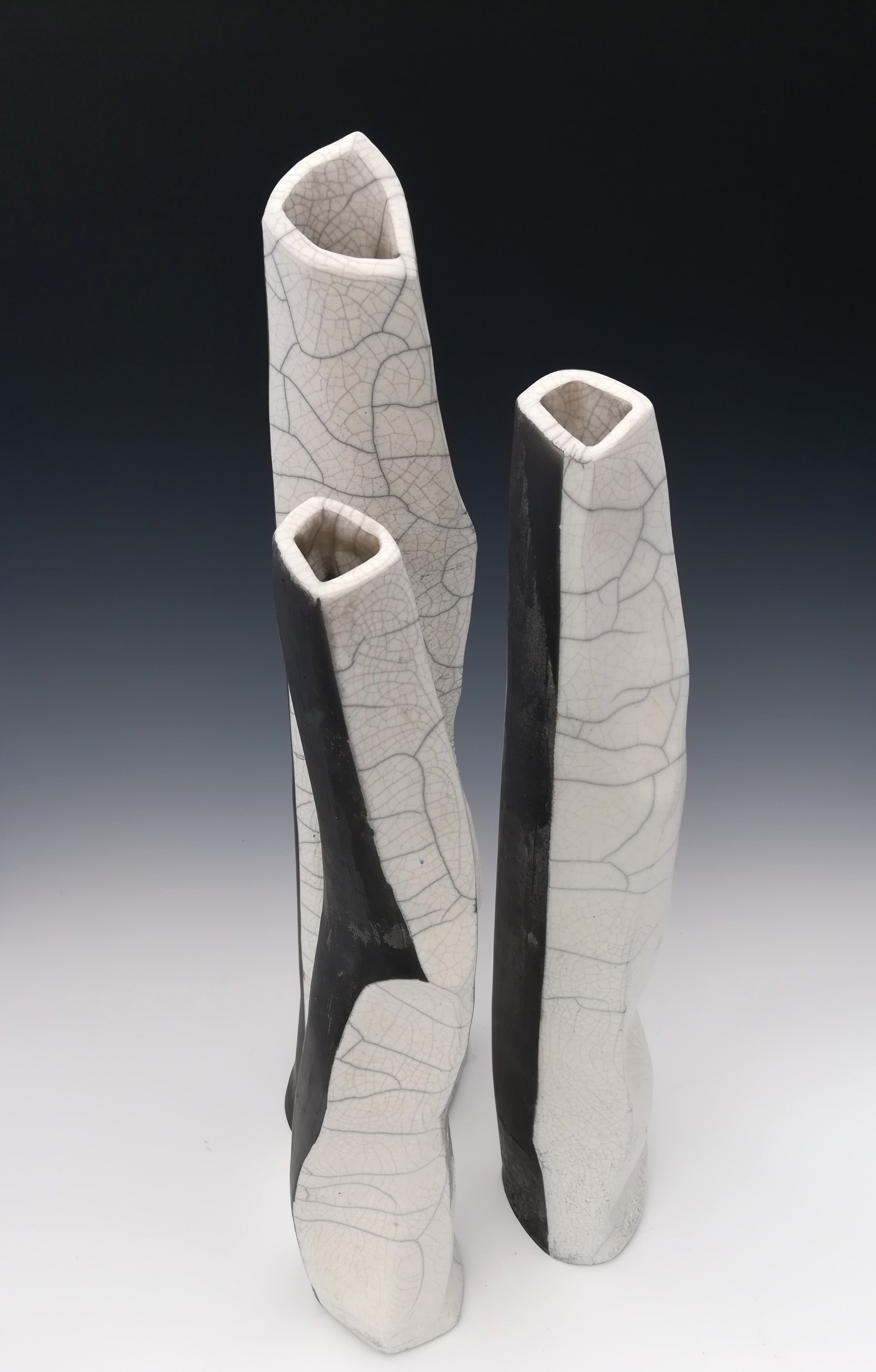 25 white raku vase black