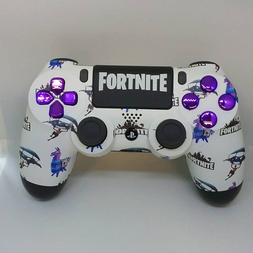 PS4 Fortnite Pattern w/ Purple Chrome Buttons