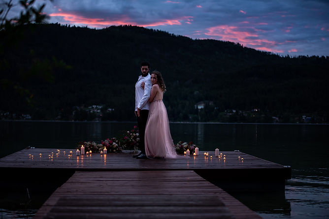 Bride an groom sunset photo by Alberta wedding photographer Heaten Photography at White lake Cabins in Salmon, Arm, BC