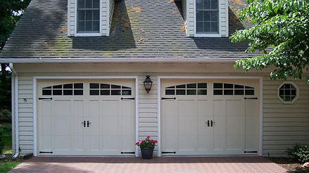 Garage Door, Model 5600, Carriage House Overlay, w/Optional 2 piece Arched, Stockton Window Inserts