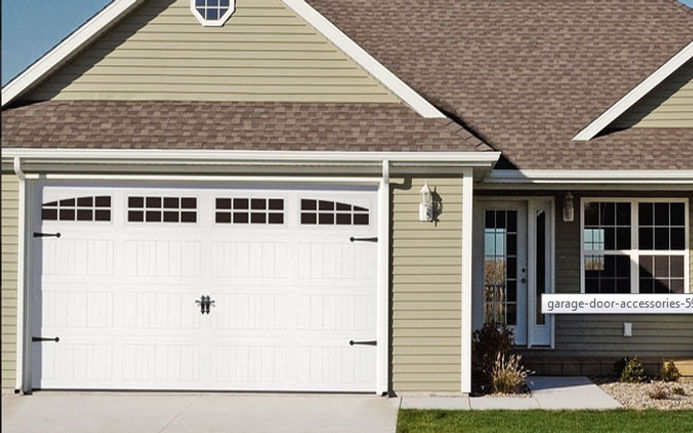 Stamped Steel Carriage House, Long Panel Garage Door w/4 Piece Arched Madison Windows