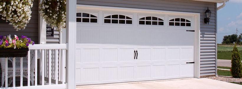 Stamped Steel Carriage House, Short Panel Garage Door w/Cascade Windows