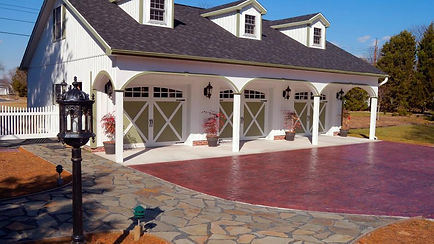 Garage Door, Model 5834, Carriage House Overlay w/Optional 2 Piece Arched, Stockton Window Inserts
