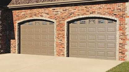 Steel Garage Door, Raised, Short Panel in Bronze with Optional Sunburst Window Inserts