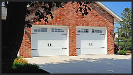 Stamped Steel Carriage House, Short Panel Garage Door w/2 piece Arched Madison Windows
