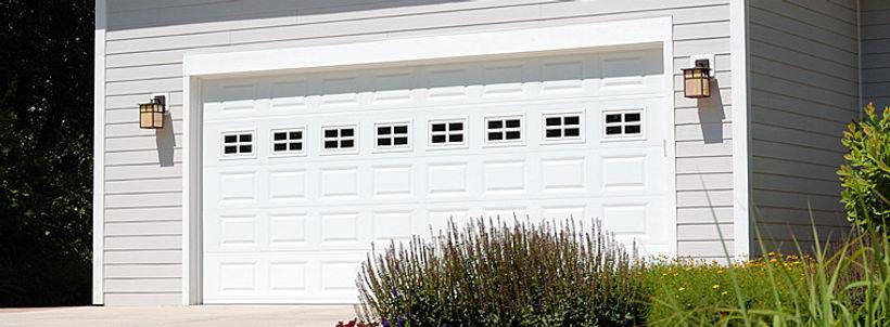 Traditonal Steel, Short Panel Garage Door w/Stockton Window Inserts