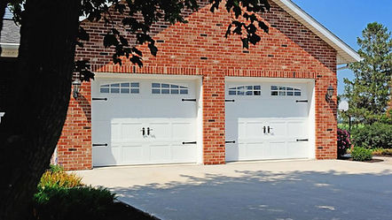 Steel Garage Door, Carriage House, Short Panel w/Optional 2 piece, Arched, Stockton Window Inserts